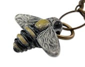 Handpainted Flying Honey Bumble Bee Charm Necklace - by Gwen DELICIOUS Jewelry Design