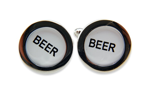 Two for One Sale....Beer Cufflinks Cash Register Key Cufflinks -White  BEER Keys - by Gwen DELICIOUS Jewelry Design