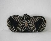 Vintage 1930s Black & Pearl Beaded Deco Dance or Change Purse