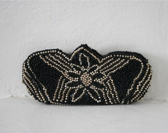 Vintage 1930s Black & Pearl Beaded Deco Dance or Change Purse