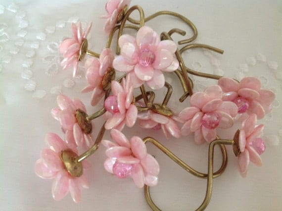 pretty pink flowered shower curtain hooks shabby chic beaded