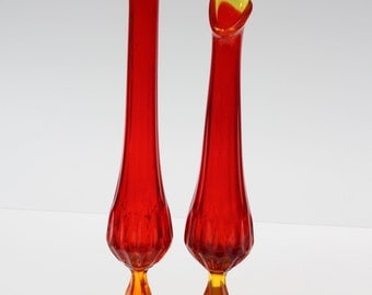 Pair of Vintage Amberina Glass Swung Stretch Pedestal Vases