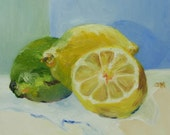 Lemons and Lime - sale original oil painting