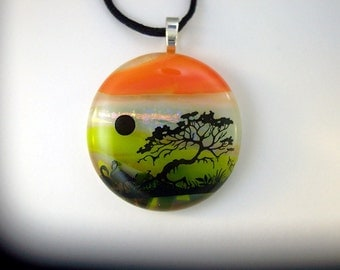 Fused Glass Pendant - Dichroic Glass Necklace - Scenic Nature  Pendant with Tree and Skyline - Dichroic Jewelry, 37-13