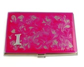 Business Card Case Metal Wallet Monogram Choose your Letter or Color Stainless Card Holder Fuchsia Hand Painted Enamel Finish