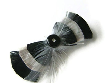 Peacock Hair Clip SWEET BOW Black and Ivory Feather and Rhinestone Wedding Hair Fascinator Clip Bridal party