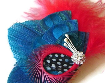 ROCKABILLY CHERRY and TEAL Bridal Peacock Feather Hair Clip Rhinestone Wedding Hair Fascinator Clip