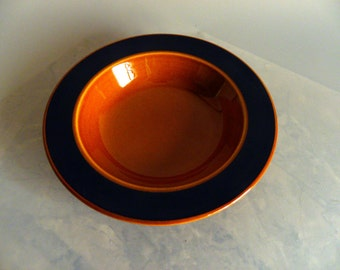 Mid-Century Retro Taylor Smith and Taylor Pair of Cereal Soup Bowls (Amber) Burnt Orange and Chocolate