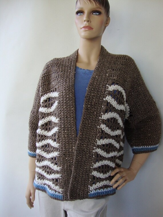 Women's Cardigan  - Taupe, Hand Crocheted, Original Design, M/L