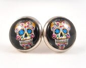 Sugar Skull Earrings for Teens Tween Earrings Teen Jewelry Black Sugar Skull Jewelry Day of the Dead Jewelry Big Stud Earrings for Women