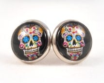 Sugar Skull Earrings for Teens Tween Earrings Teen Jewelry Black Sugar Skull Jewelry Day of the Dead Jewelry Big Stud Earrings for Women