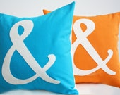 Ampersand Pillow - You Choose the Color - Home and Living / Decor and Housewares