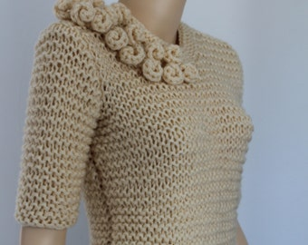 Chunky Sweater, Hand Knitted  Cream  Sweater , Fall Fashion , Size M- L , office fashion, Unique sweater
