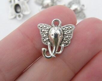 BULK 50 Elephant charms antique silver tone A533