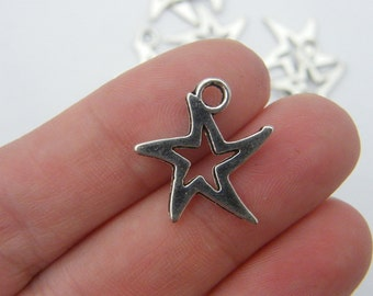 10 Star charms antique silver tone S10