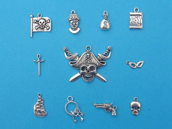 The Pirate Charms  Collection - 11 different antique silver tone charms