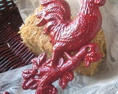 Cast  Iron Rooster Hook Hanger  in Red/ French Decor