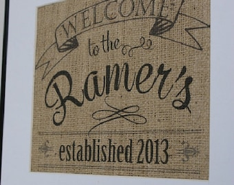 Free US Shipping...Personalized Housewarming & Welcome Home Chalkboard-Style Burlap Print, wedding or anniversary gift!