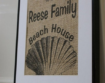 Free US Shipping...Personalized Beach House with Shell Burlap Print