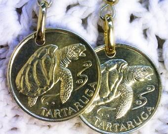 Cape Verde - One Escudo ( TARTARUGA SEA TURTLE ) ---- Genuine Coin Earring Set ---- Unique Gif - (2-c4)