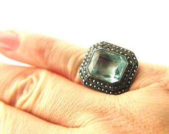 Marcasite Ring - Art Deco - Sterling Silver - Vintage
