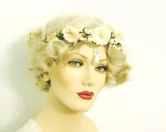 vintage flower crown, head piece, tiara, flower girl- Pearl