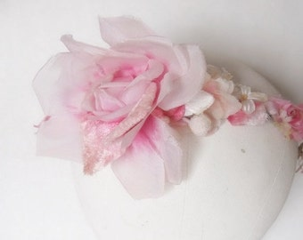 Pink velvet millinery rose fascinator and velvet flowers and satin roses bridal crown flapper style