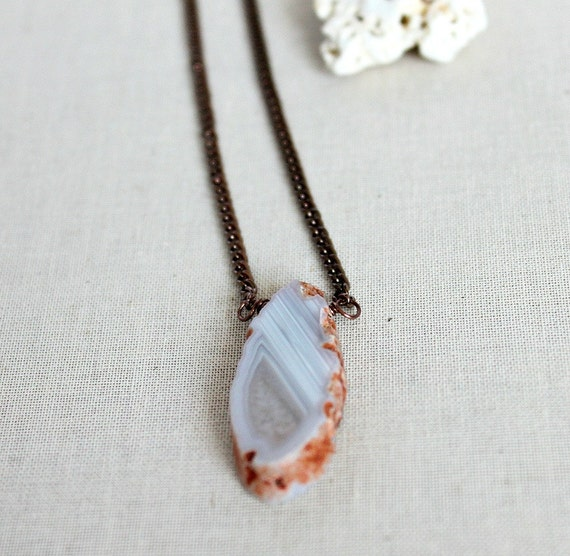 Agate Necklace, Geode Jewelry, Natural Jewelry, Copper Necklace, Tan Soft Blue-Last One, Unearthed