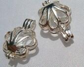 Silver plated - Mermaid - sea Shell Locket - Pearl cage - sea - beach - nautical - marine - ocean