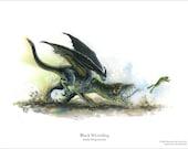 Baby Black Dragon 8.5 x 11 Print