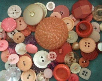 Over 60 Pink Vintage Buttons