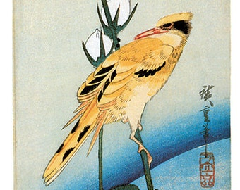 Hand-cut wooden jigsaw puzzle. ORIOLE on ROSE BRANCH. Hiroshige. Japanese woodblock print. Wood, collectible. Bella Puzzles.