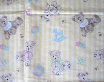 BOYDS Flannel Cotton Fabric Yellow Stripe w Teddy Bears 1 yd