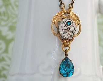 steampunk jewlery for women - LILY POND - vintage brass lily steampunk watch movement necklace with Swarovski zircon color jewels