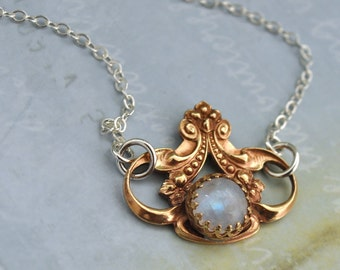 MOONLIT sterling silver necklace with vintage solid brass Victorian style charm and natural moonstone cab
