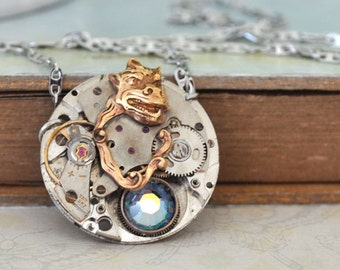 THE SPIRIT WITHIN vintage watch movement necklace in silver with steel chain