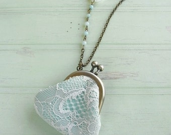 purse necklace, lace and crystal, mint necklace, lace necklace, crystal quartz necklace, lace and leather, lace purse, mint lace, crystal