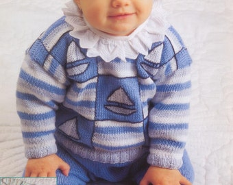 Baby Crochet and Knitting Pattern -  2 Baby Sets One Crochet, one to KNIT