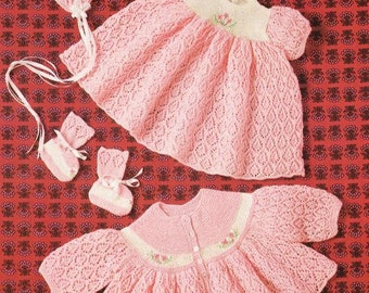 Baby Knitting PATTERN - Baby Dress, Jacket, Booties and Mittens -  download PDF