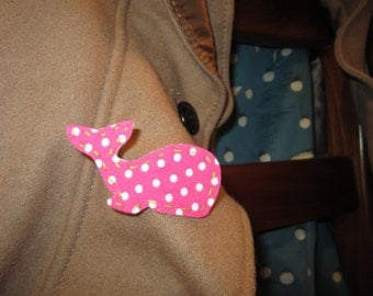 Hand-Stitched Pink Polka Dot Whale Pin