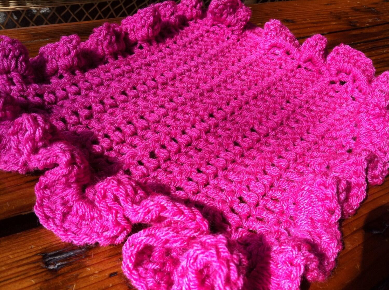 Bright pink ruffle edge crochet baby blanket lovey for Crochet ruffle edge