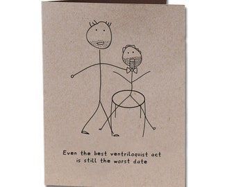 Valentine's Day Humor Greeting Card Ventriloquist Act