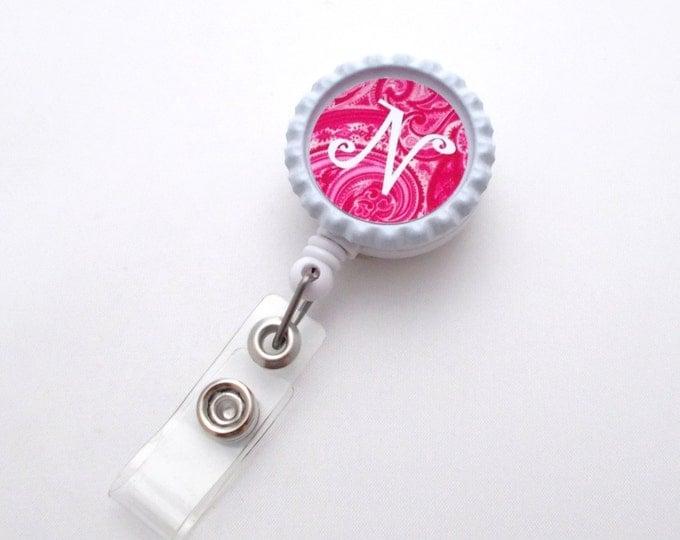 Retractable ID Badge Holder - Name Badge Holder - Nursing Badge - Nurse - Personalized Badge Clip - Initial Paisley
