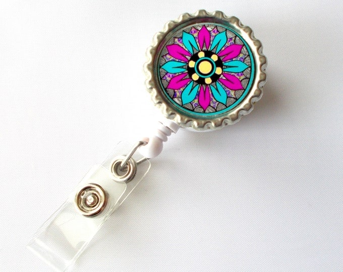 Funky Flower Magenta and Aqua Blue - Name Badge Holder -  ID Badge Holder - ID Badge Reel - Nurse ID Badge Clip
