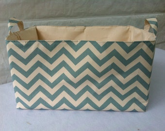 "Laundry hamper, storage bin, Toy Bin, Chevron print - 22"" x 14"" x 12"""