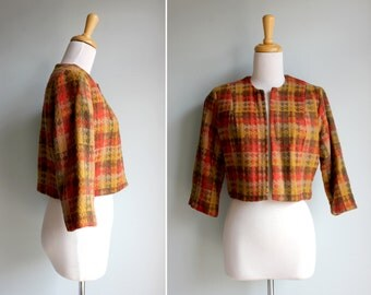 FINAL SALE Vintage 1950s Autumn Cropped Jacket- Red Orange Yellow Brown Fall 1950s Tweed Plaid- Size Small or Medium S M