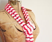 Women's Ruffled Scarf made from ruffled fabric red and white stripes