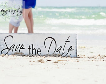 Save the Date sign. Vintage Engagement Sign, Photography Prop, Wedding Announcement. 8 X 24 inches, 1-Sided.