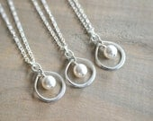 Bridesmaid Gift - 3 Infinity Necklaces in Sterling Silver with Swarovski Pearl - choose pearl color