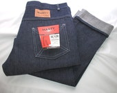 Vintage 1960s Mens Denim Jeans Rockabilly Turn Up Cuff Never Worn size 38 NOS Nwt - sewingmachinegirl